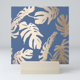 Simply Tropical Palm Leaves White Gold Sands on Aegean Blue Mini Art Print