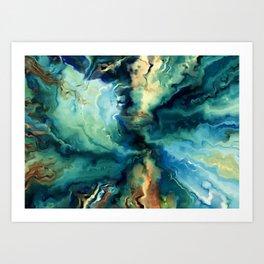 Marbled Ocean Abstract, Navy, Blue, Teal, Green Art Print