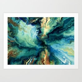 Marbled Ocean Abstract, Navy, Blue, Teal, Green Art Print