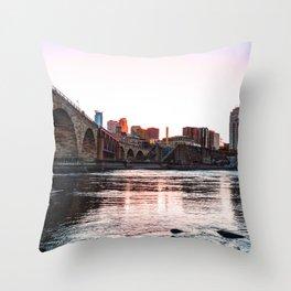 Minneapolis Skyline Sunset Colorful-City Photography Throw Pillow