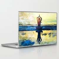 yoga Laptop & iPad Skins featuring yoga by Chantale Roger