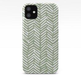Boho Herringbone Pattern, Sage Green and White iPhone Case