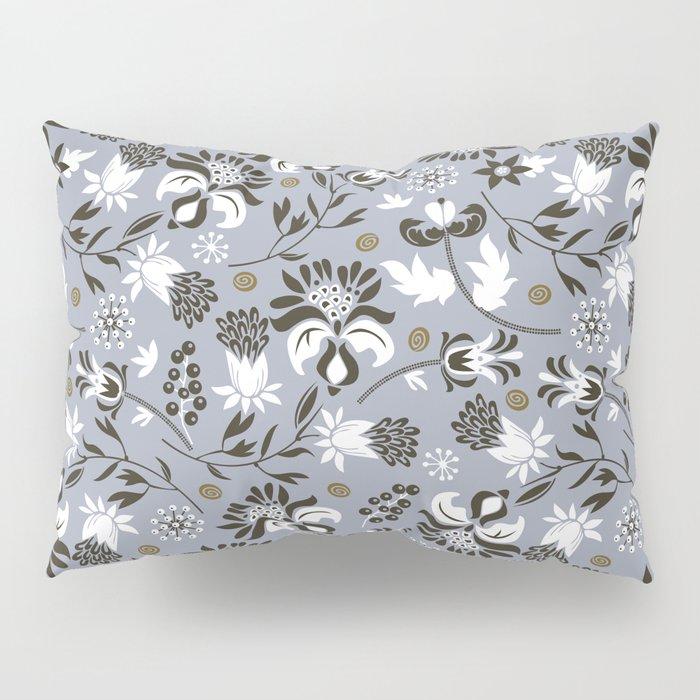 Victorian floral   slate gray Pillow Sham