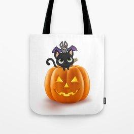Cute Halloween Cat On Halloween Pumpkins Tote Bag