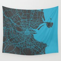dublin Wall Tapestries featuring Dublin Map by Map Map Maps