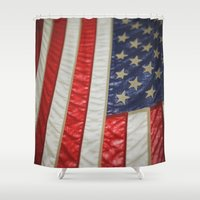 american flag Shower Curtains featuring American Flag by alltheprettythings