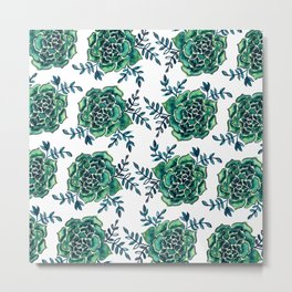 Watercolor houseleek - emerald Metal Print