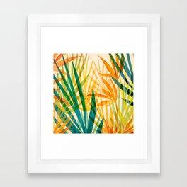 Golden Tropics / Abstract Tropical Illustration Framed Art Print