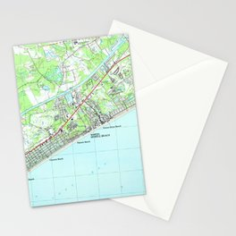 Map of North Myrtle Beach South Carolina (1990) Stationery Cards