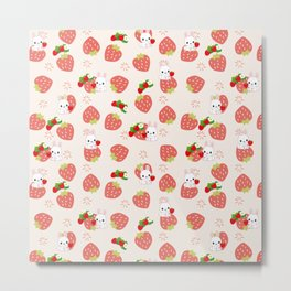 Bunnies and Strawberries Metal Print
