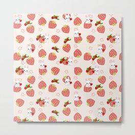 Bunnies and Strawberries Metal Print