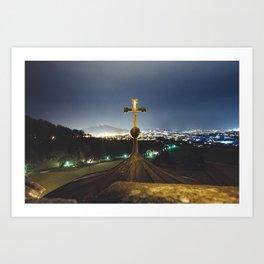 Church Tower. || Cross. || Salzburg, Austria. || Christian. || Mountains. || Night Travel Art Print