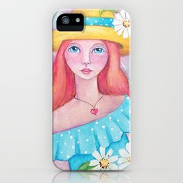 Whimsical Girl with Daisy's iPhone Case