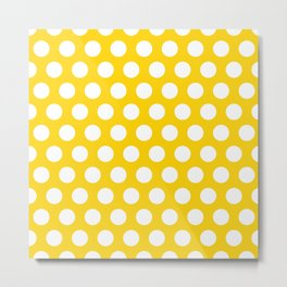 Yellow and White Polka Dots 772 Metal Print