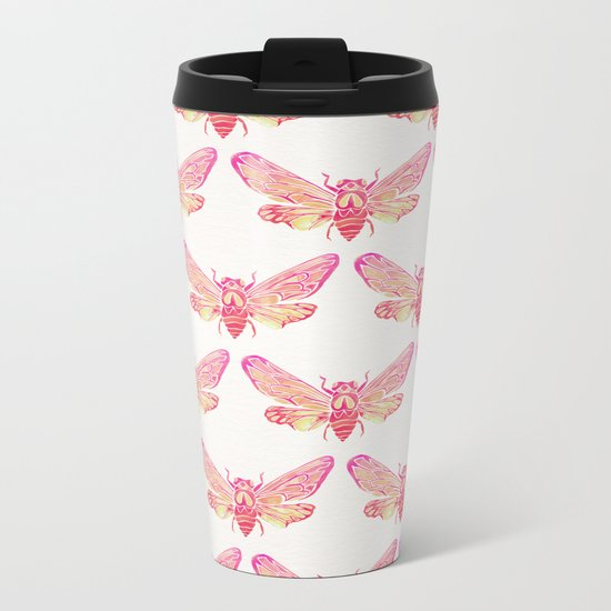 Summer Cicada – Pink Palette Metal Travel Mug