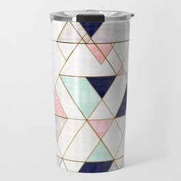 Mod Triangles - Navy Blush Mint Travel Mug