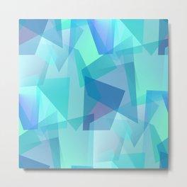 Blue Glass Shards Metal Print
