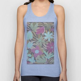 Pink Green Olive Floral Illustration Pattern Unisex Tank Top