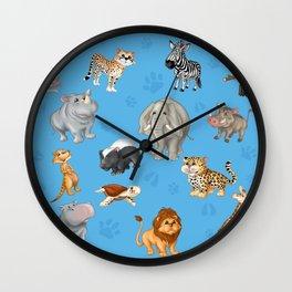 African Animals-Kids Blue background Wall Clock