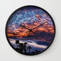 coachella Wall Clocks featuring Coachella Sky by Jay Hooker Designs