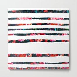 Pink red white watercolor floral geometrical stripes Metal Print