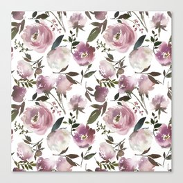 Modern hand painted ivory purple pink watercolor roses Canvas Print