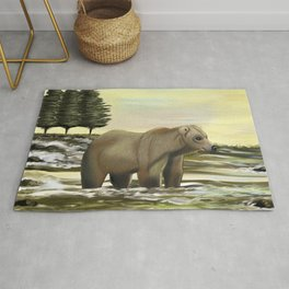 Grizzly bear fishing in the river on a sunny day Rug