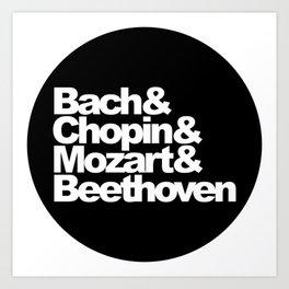 Bach and Chopin and Mozart and Beethoven, sticker, circle, black Art Print