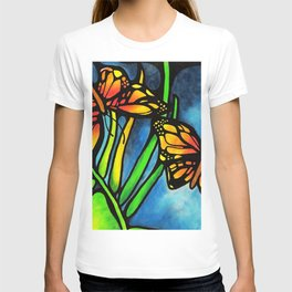 Beautiful Monarch Butterflies Fluttering Over Palm Fronds by annmariescreations T-shirt