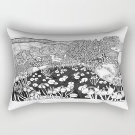 Zentangle Vermont Landscape Black and White Illustration Rectangular Pillow