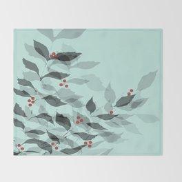 Leaves with Christmas Berries Throw Blanket