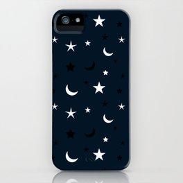 Navy blue background with black and white moon and star pattern iPhone Case