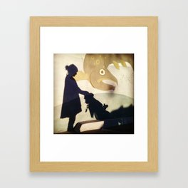 Mother And Child Shadow Framed Art Print