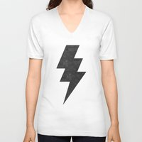 lightning V-neck T-shirts featuring lightning strike by Vin Zzep