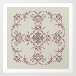 Damask pink gray Art Print