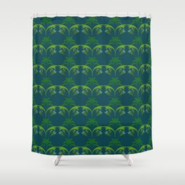 Green Wheat Floral Shower Curtain