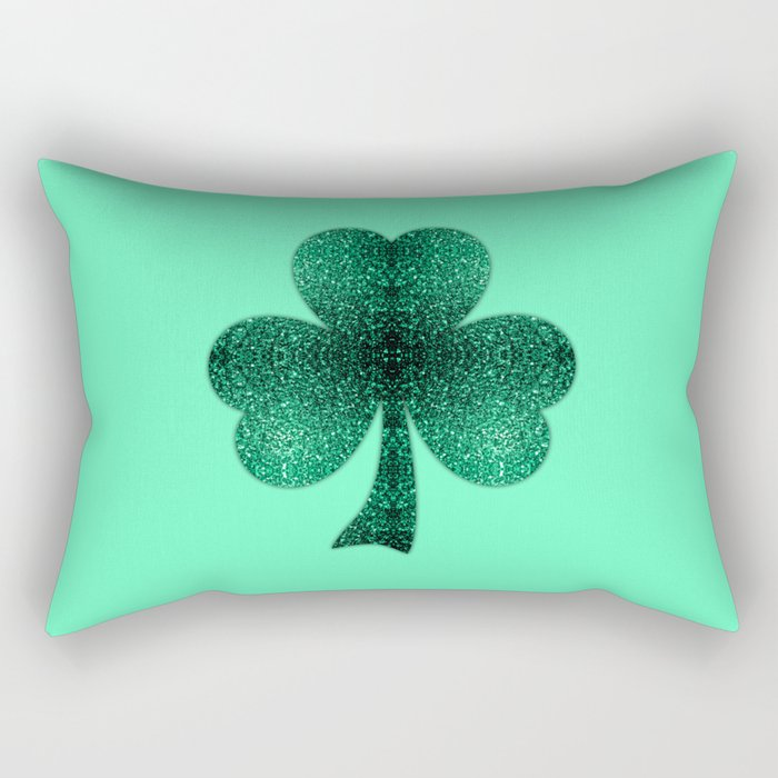 Emerald green shamrock clover sparkles Rectangular Pillow