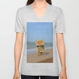 Danbo on the beach Unisex V-Neck