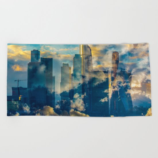 skyscrapers in the clouds Beach Towel