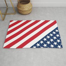 USA American Flag Slanted Stripes Rug