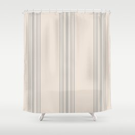 Simple Farmhouse Stripes in Gray on Beige Shower Curtain