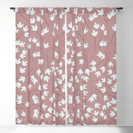 white floral seamless pattern Blackout Curtain