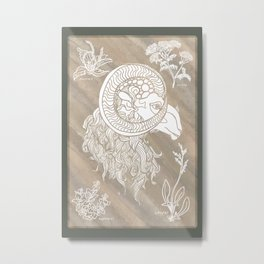 Ram and herbs in white Metal Print