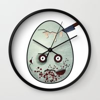 zombies Wall Clocks featuring Zombies by Marcos Lozano