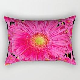 Black & Pink Gerbera Flowers Grey Patterns Art Rectangular Pillow