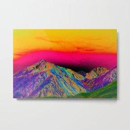 California's Sierra Mts-Digital Art, Green & Purple Metal Print
