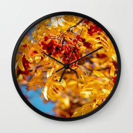 Rowan in the autumn forest Wall Clock
