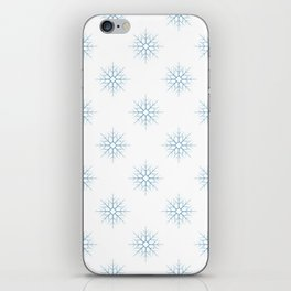 Seamless pattern with blue snowflakes iPhone Skin