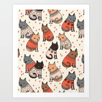 sweater Art Prints featuring Sweater Cats - by Andrea Lauren by Andrea Lauren Design