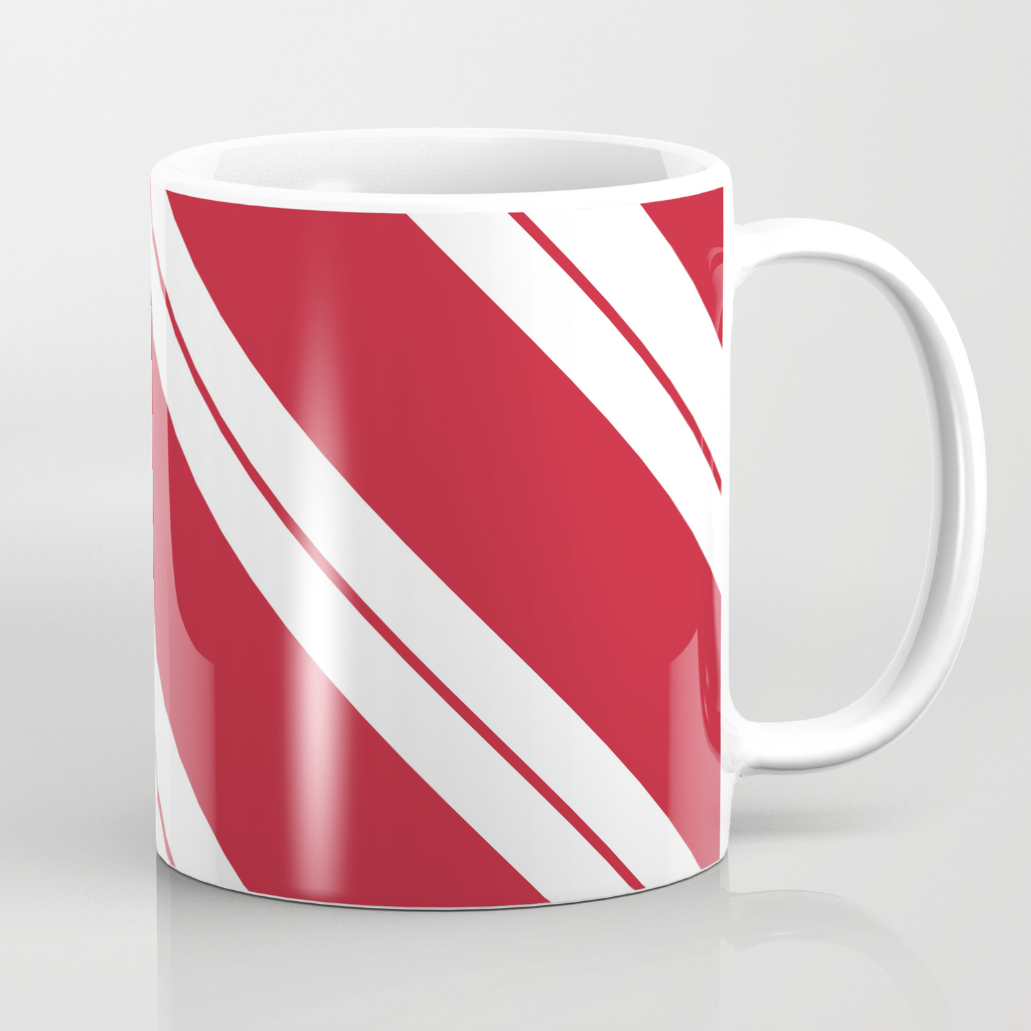 Tilted Classic Red Candy Cane Coffee Mug By Bndesigns Society6